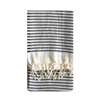 Black And Ivory Striped Waffle Throw