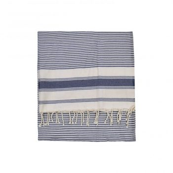 Blue And Ivory Striped Turkish Cotton Throw