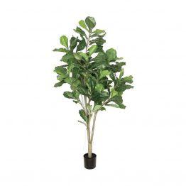 Faux Fiddle Leaf Tree In Black Pot