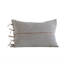 Gray Striped Lumbar With Brown Leather Ties