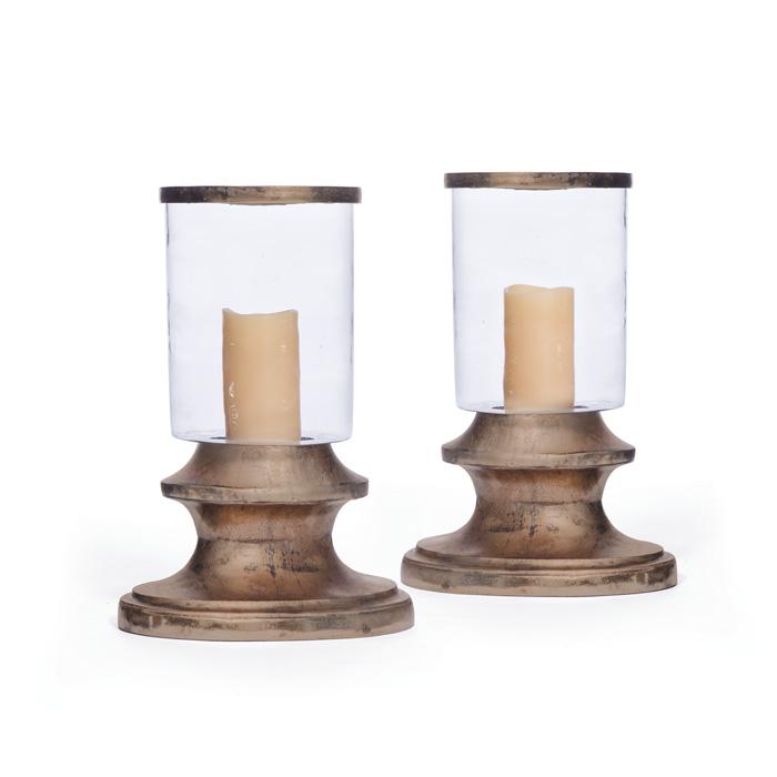 Oblong Brass And Glass Hurricane