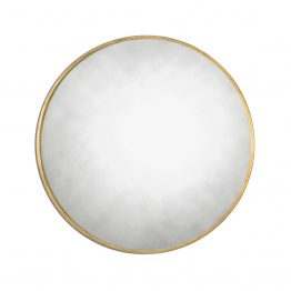 Round Antiqued Gold Mirror