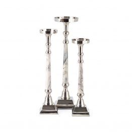 Silver And White Marbled Candleholder