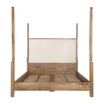 Birch Wood And Linen Upholstered Four Poster Bed