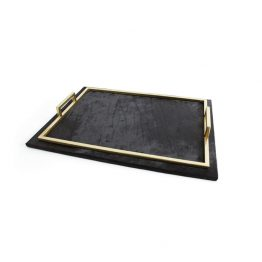 Black Leather Tray With Brass Edging And Handles