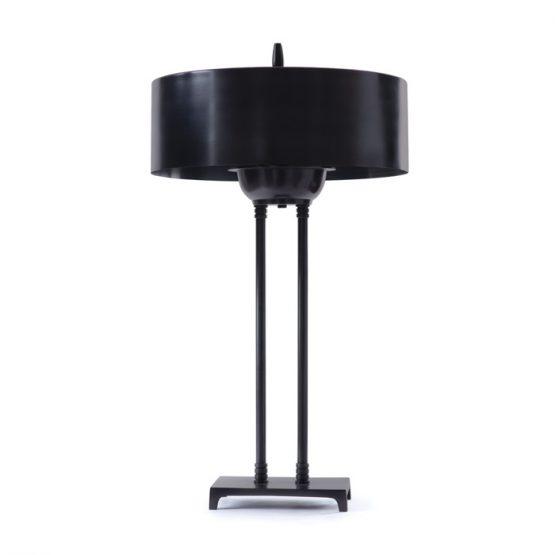 Black Metal Pencil Table Lamp With Black Metal Shade