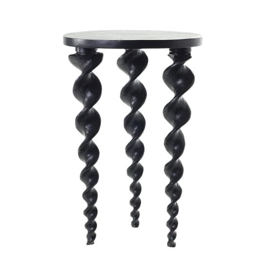 Black Metal Side Table with Helix Spiral Legs