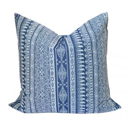 Blue and white pillow