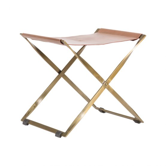 Brass And Leather Ottoman With Twisted Brass Legs