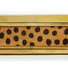Brass Tray With Leopard Print Sides