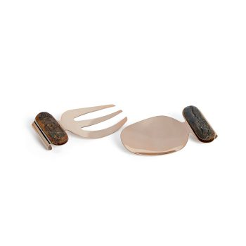 Copper And Bark Salad Server Set