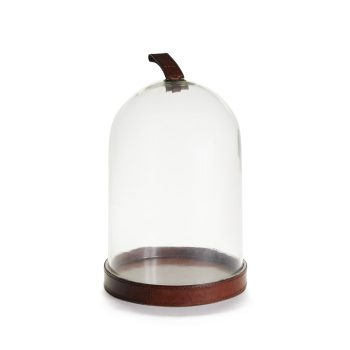 Glass Cloche With Leather Base And Handle