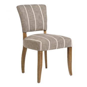 Gray And White Upholstered Dining Chair With Birch Wood Legs