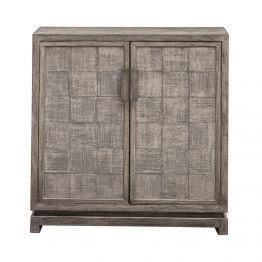 Gray Wash Two Door Cabinet With Square Pattern Doors