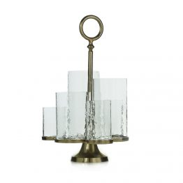 Multi Hurricane Candle Holder On Brass Stand