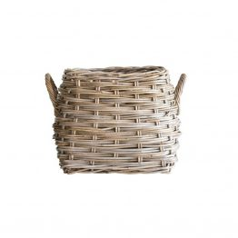 Natural Square Rattan Basket With Handles