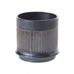Ribbed black ceramic vase