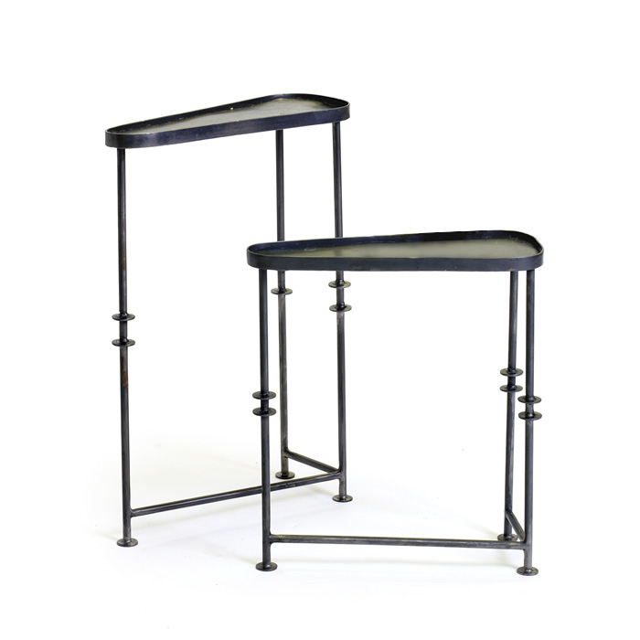 Set Of Black Metal Triangle Side Tables