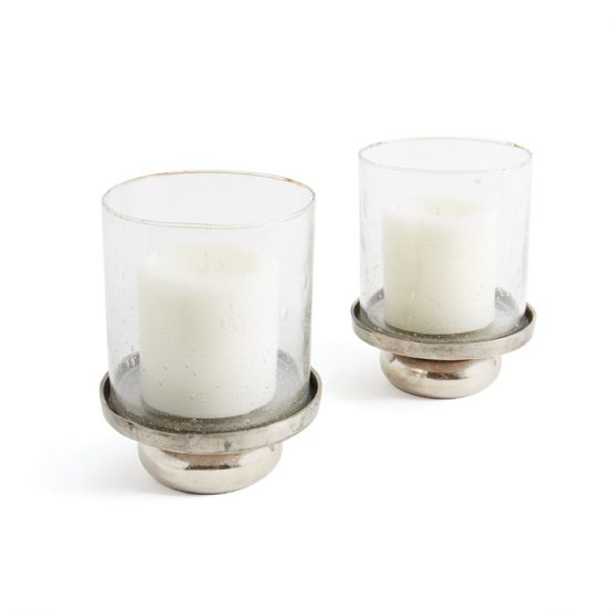 Set Of Two Silver Knob Candleholders