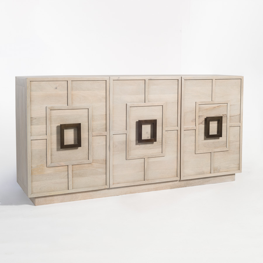 Three Door Console Sideboard with Square Geometric Doors