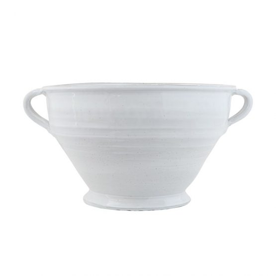 White Terracotta Pot With Handles