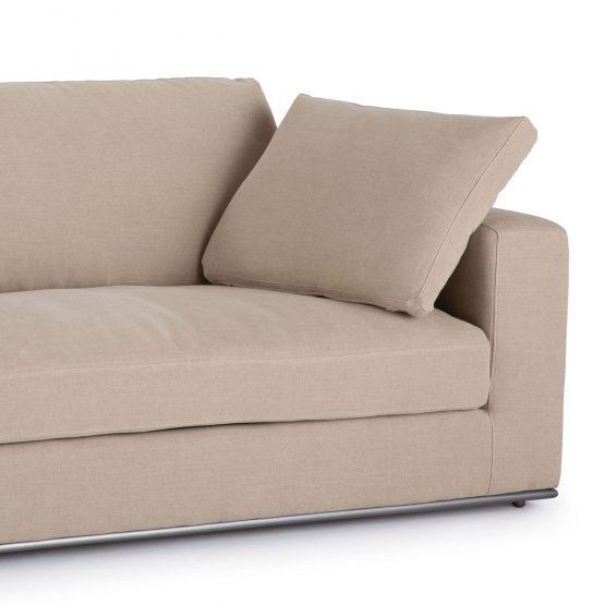 Beige Contemporary Linen Square Arm Sofa