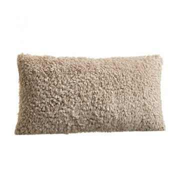 Beige Brown Lumbar Shag Fur Lumbar Pillow