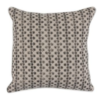 Black And Ivory Block Print Belgian Linen Pillow