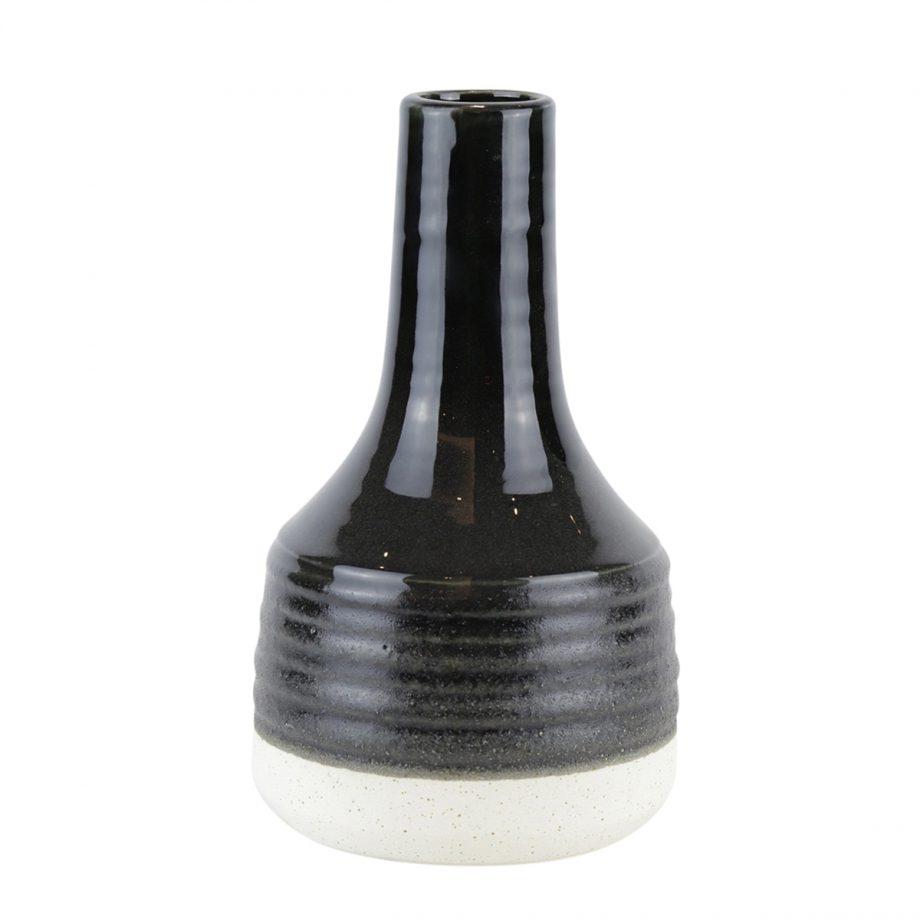 Black And Natural Glazed Ceramic Genie Vase