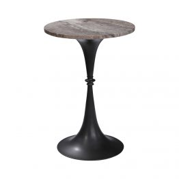 Black Metal Side Table With Tan Marble Top