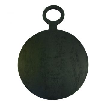 Black Round Mango Wood Cutting Board With Handle