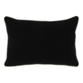 Black Textured Cotton Lumbar Pillow