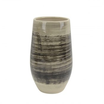 Brown And Black Brushstroke Ceramic Vase