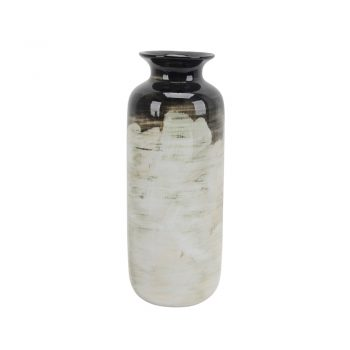 Brown Black And White Brushstroke Ceramic Vase