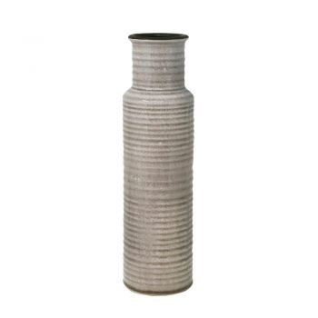 Brown glazed ribbed ceramic vase