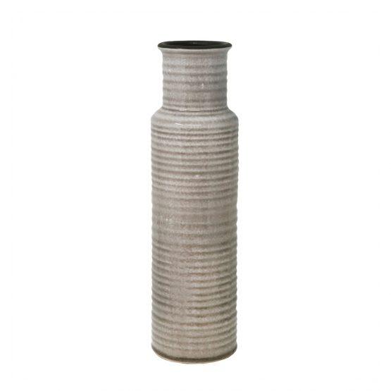 Brown glazed ribbed ceramic vase