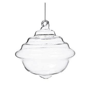 Clear Glass Bell Shaped Ornament