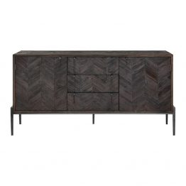 Dark Chevron Wood Sideboard Console