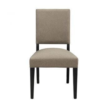 Dark Taupe Upholstered Dining Chair with Black Wood Legs