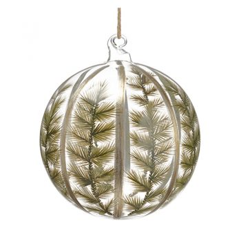Glass Ball Ornament Painted Pine And Silver Stripes