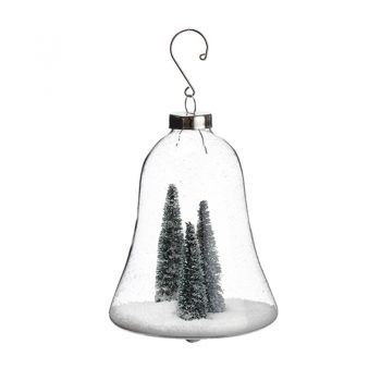 Glass Bell Ornament With Snowy Trees Inside