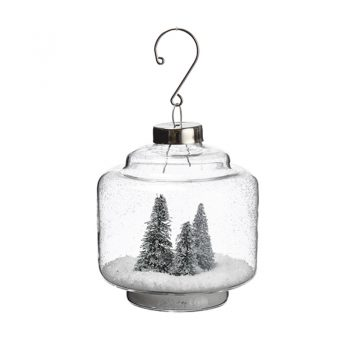 Glass Lantern Ornament With Snowy Trees Inside