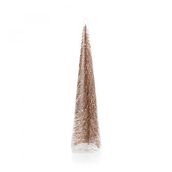 Gold Glitter Bottle Brush Glass Christmas Tree