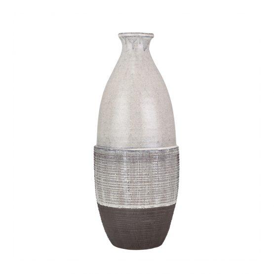 Gray And White Textured Ceramic Vase