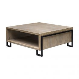 Open Wood And Metal Coffee Table With Shelf