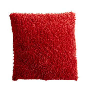 Red Boucle Shag Fur Pillow