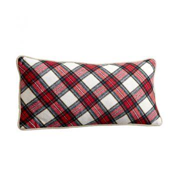 Red White Green Christmas Plaid Lumbar Pillow