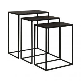 Set Of 3 Black Metal Nesting Side Tables