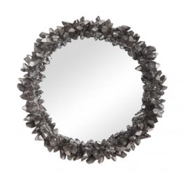 Silver Rock Crystal Round Mirror