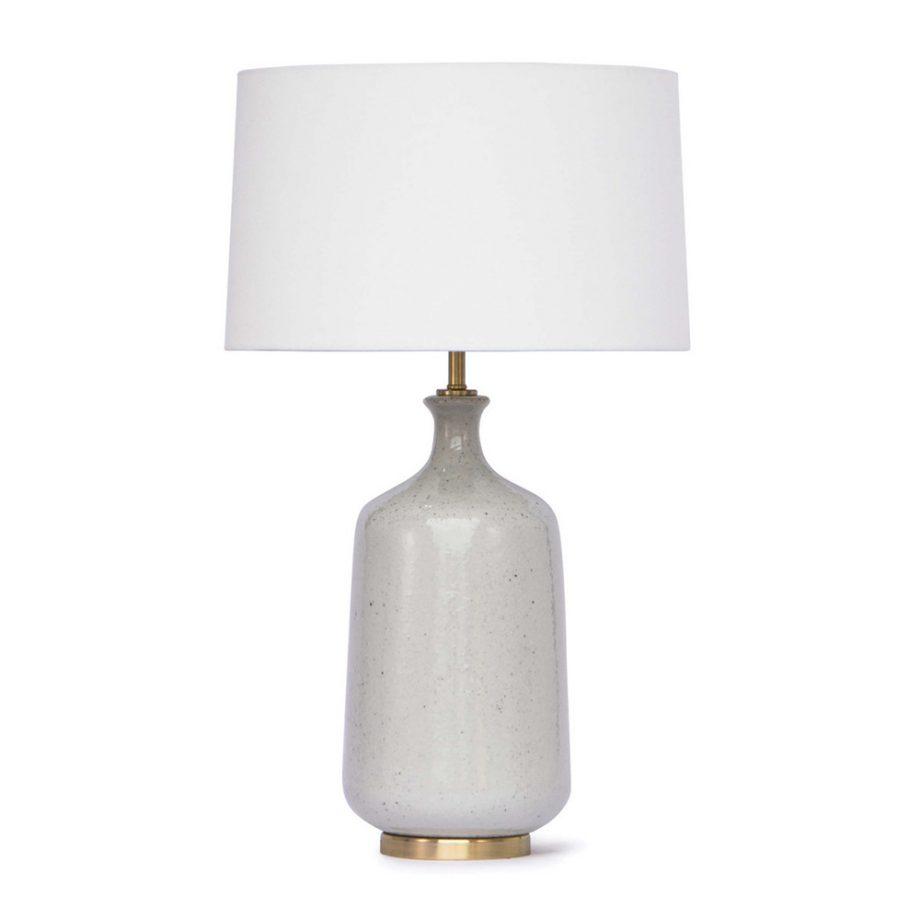 White Glazed Ceramic Table Lamp With Brass Base